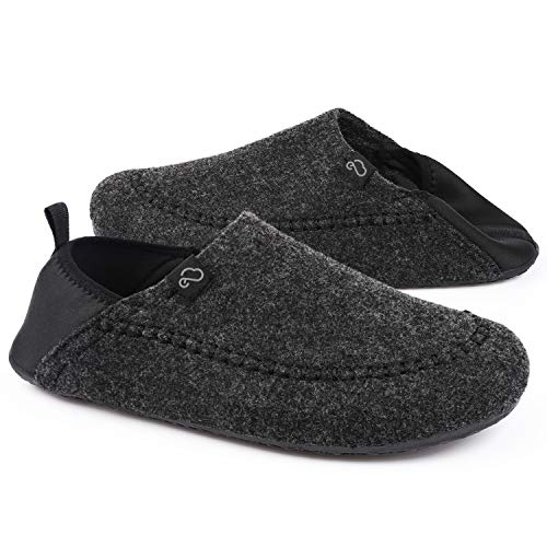 EverFoams Men's Comfy Faux Wool Felt Slipper with Removable Sole and...
