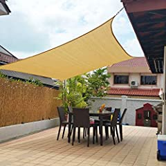 MATERIAL: The sun shade sail is made of 185 gsm UV protected high density polyethylene (100%HDPE) shade fabric with strong stitched seam. With Durable Stainless Steel D-rings in each corner make the sun sails easily attached to any sturdy connection ...