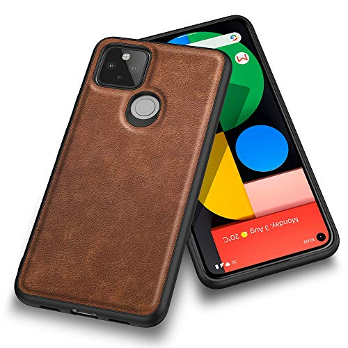 Banzn Case for Google Pixel 5, Premium Leather Slim Fit Business Style Stylish Elegant Soft Grip Shockproof Anti-Scratch Protection Cover Cases for Google Pixel 5 (6.0 inch) 2020 (Dark Brown)