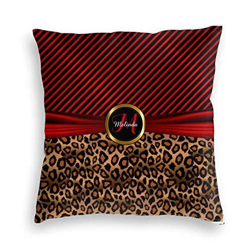 Funda de almohada, monograma de color rojo profundo, diseño de leopardo, decorativo, cuadrado, funda de cojín de 45,7 x 45,7 cm, para sofá, dormitorio, sala de estar