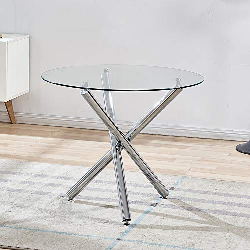 WENYU Glass Dining Table Set, Round Kitchen Table with Clear Tempered Glass Top, Modern Dining Table...