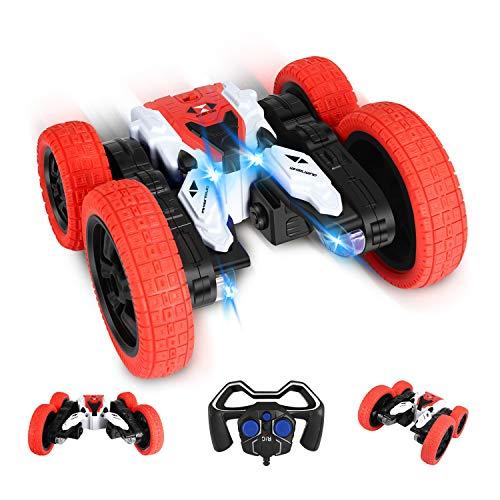 Ferngesteuertes Auto, RC Stunt Auto Rennauto, 360° Flips 4WD Buggy Auto, 2.4 Ghz Fernsteuerung Spielzeugauto mit LED, Doppelseitiges rennauto, Tumbling Rennwagen Stunt Auto für Kinder über 3 Jahre