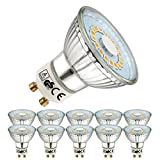 EACLL Bombillas LED GU10 2700K Blanco Cálido 5W 450 Lúmenes Equivalente 50W Halógena. 120 ° Luz Blanca Cálida Spotlight LED, 10 Pack