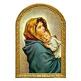 Cuadro madera Virgen Maria con Niño, La Zingara del Pintor italiano FERRUZZI. Madera tabla 28x18,5x1, Alta decoración, se pueden coleccionar y regalar. Colgador incluido.