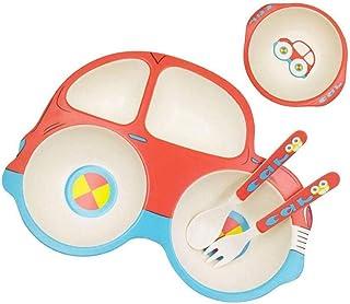 Enfants Arts de la table pour tout-petit Vaisselle Alimentation Set dîner Bambou Set plaque Grille Motif voiture Vaisselle...