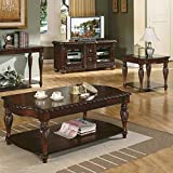 Steve Silver Company Antoinette 3 Piece Coffee Table Set in Mahogany Cherry