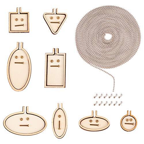 PandaHall 10 piezas 10 estilos mini bordados círculos de madera marco de punto cruz marco con cadenas de bolas de hierro de 3 m y conectores de cadena de 20 piezas para coser