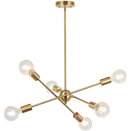 Bonlicht Modern Sputnik Chandelier Lighting 6 Lights Brushed Brass Chandelier Mid Century Pendant Lighting Gold Ceiling Light Fixture For Hallway Bar Kitchen Dining Room Home Improvement