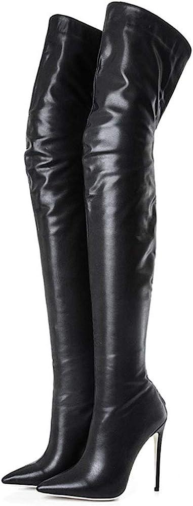 Kitulandy Women's Over The Knee Boots High Heels Zipper PU Leather Thigh High Boot