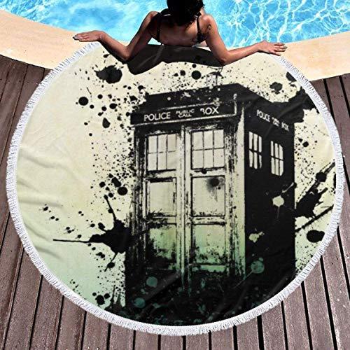 Doctor Who Toalla de playa redonda de gran tamaño Ultra absorbente de agua Manta de microfibra suave Toalla de playa Estera de yoga Decorati para el hogaren la manta de la playa del tapiz de la cama d