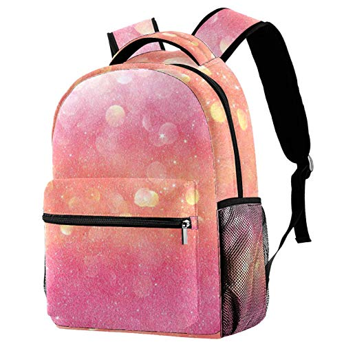 12' College School Computer Bag for Men & Women,Gold and Pink