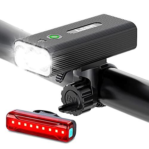 Lsan Luci per Bicicletta Ricaricabili USB,1200 Lumens Super Luminoso Luce Bici Anteriore e Posteriore,Funzione Banca di Potere,3+5 modalità di Illuminazione,Impermeabile IPX5,Facile da Installare