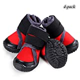 Hdwk&Hped Waterproof Dog Snow Boots Durable Dog Hiking Shoes for All Seasons with Rugged Anti-Slip Sole Cosy Fabric Red #55, 4-Pack