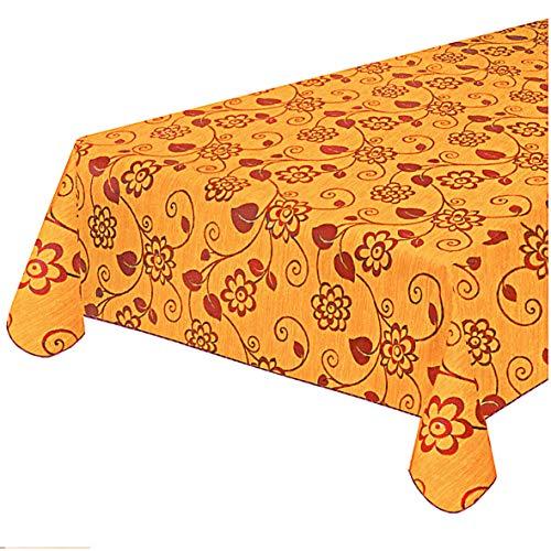 emmevi Tovaglia Antimacchia Cotone Plastificata Copri Tavolo Fiori Vettoriali MOD.CINZ38I 120x160 Arancione