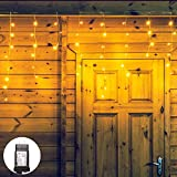 Qunlight 300L LEDIcicle Lights, Warm White Window Curtain Lights,8 Modes with 30V Plug in for Wedding, Party, Bedroom, Home, Garden, Outdoor, Indoor Wall,Christmas Decorations,Connectable(Warm White)