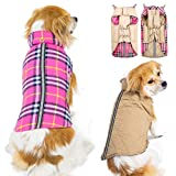 SuBleer Winter Dog Jacket for Cold Weather, Warm Dog Coats Waterproof Windproof Reversible, Plaid Dog Vest Jackets for Extra Small Puppy Dogs, Beige XS