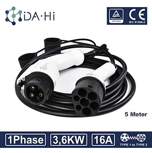 DA Hi EV Ladekabel für Elektrofahrzeuge   16A 1Phase 3,6KW 5m   Typ 1 zu Typ 2 IEC 62196-2   TÜV & CE certifiziert   Wasserdichten Schutzart IP54   Schutz vor Regen Wind und Staub