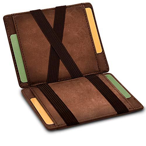 GenTo® Vegas Magic Wallet - Certificado RFID, protección NFC - Billetera mágica y Fina con Compartimento para Monedas - Regalo para Hombres y Mujeres con Caja de Regalo - en 8 Colores