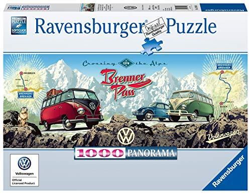Ravensburger Puzzle 15102 - Mit dem Bulli über Brenner - 1000 Teile Puzzle für Erwachsene und Kinder ab 14 Jahren, VW Bulli Puzzle im Panorama-Format