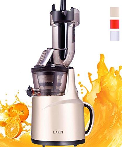 JIARUI Slow Juicer Entsafter, Früchte & Gemüsesaft Kaltpresse (150W, 60 U/min, 58 dB leise, BPA frei) mit Zubehör, Reinigungsbürste (Gold)