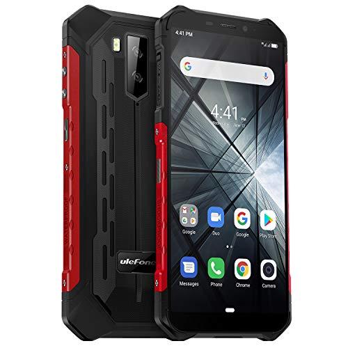 "Rugged Smartphone 2019, Ulefone Armor X3 Telefono IP68 Android 9.0, 2GB+32GB, 128GB Espandibili, 5000mAh, Fotocamera 8MP+2MP+5MP, 5.5"" HD+(18:9), Cellulare Antiurto, Face ID/GPS/Wifi/Bussola-Rosso"