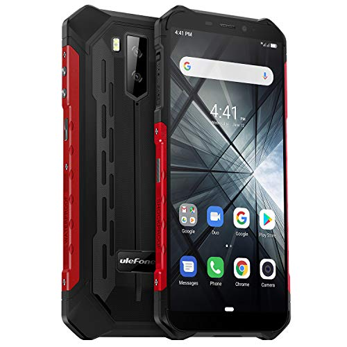 Rugged Smartphone Unlocked, Ulefone Armor X3 IP68 Waterproof Cell Phone, 5.5 inch HD+ Screen 2GB+32GB Android 9.0 5000mAh Battery Global 3G Dual SIM Dual Cameras Face ID Compass+GPS Shockproof (Red)