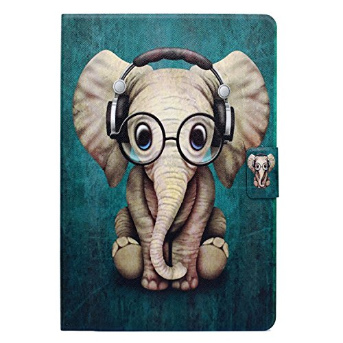 Lspcase iPad Mini 5, iPad Mini 4/3/2/1 PU Leder Schutzhülle Brieftasche Flip Hülle Cover Magnetic Stand Tasche Etui mit Auto Schlafen/Wach Funktion für Apple iPad Mini 1/2/3/4/5Elefanten Baby