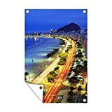 Gartenposter - Copacabana Strand am Abend - 120x180 cm