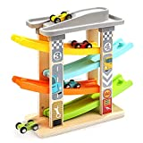 Milly & Ted Wooden Race Track Car Ramp Racer - Toddler Click Clack Racing Toy Garage - Suitable from 12 Months +
