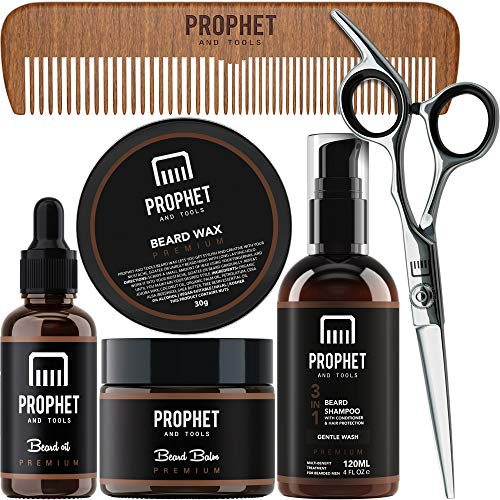 PROPHET AND TOOLS Premium Gold Beard Grooming Essentials Packed with Beard Growth Oil, Beard Balm, Mustache Wax, Beard Shampoo & Conditioner, Sharp Scissors, and wooden comb - Best Kit for Men