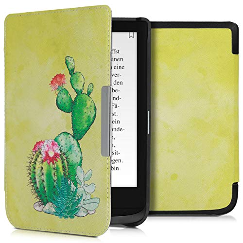 kwmobile Hülle kompatibel mit Pocketbook Touch Lux 4/Lux 5/Touch HD 3/Color (2020) - Kunstleder eReader Schutzhülle - Kaktus Blüte Grün Pink Hellgrün