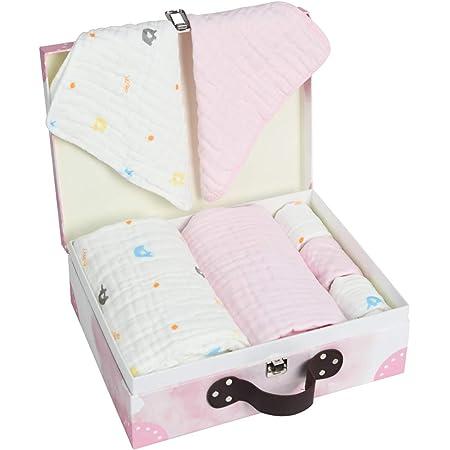 LUlala 出産祝いセット男の子 8 点セットバスタオル 出産祝いプレゼント出産準備 セットベビーギフト女の子 ガーゼ 天然綿100% 赤ちゃん よだれかけ おねしょシーツ ギフトセット おくるみ 新生児から4才まで ギフトBOX付き(女の子)