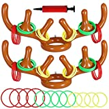 Max Fun Christmas Party Game Antler Ring Toss Game Inflatable Reindeer Antler Ring Toss Game for Christmas Party (2Pack 12Rings)