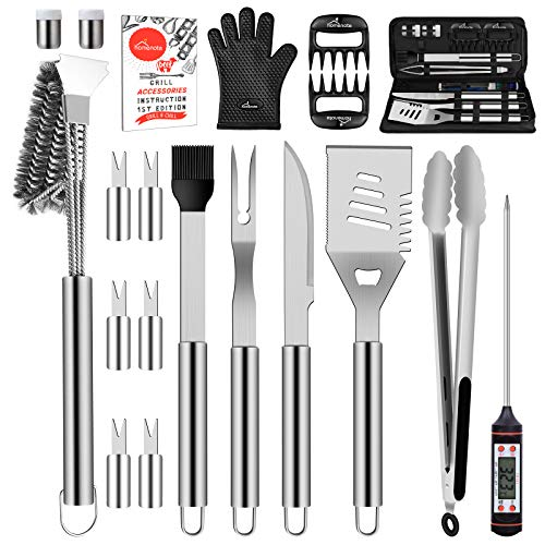 HOMENOTE Grill Accessories 20Pcs Stainless Steel BBQ Grilling Tools Set Grill Utensils with Heavy Duty Brush Meat Claw Thermometer for Smoker Camping Kitchen Perfect Grill Gift for Men Women