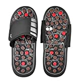 Pantoufles de massage Pied de Acupressure Chaussures de Massage Point d'acupuncture Sandales réflexologie, Noir (Color : Black, Size : 44-45)