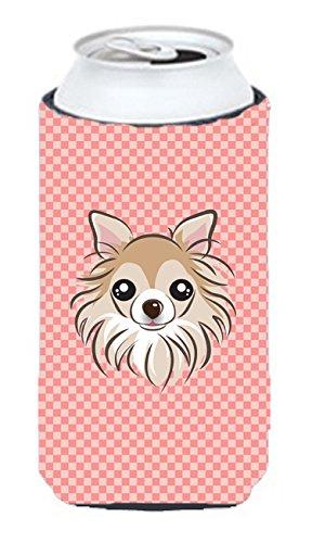 Checkerboard Rose Chihuahua Tall Boy Koozie Hugger Bb1251tbc