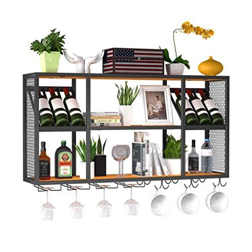 Decoración viva Gabinete de almacenamiento para botellas de vino Soporte para vino Soporte de almacenamiento Estantes de gran capacidad Soporte de almacenamiento para bar Estante colgante de hierro