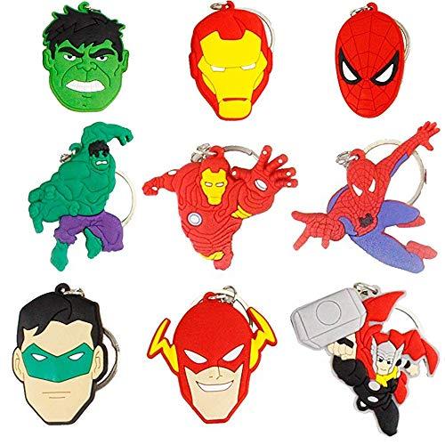 Porte-clés Héros Porte-clés Spiderman 9Pcs Silicone de Dessin Animé Porte-clés 3D Pendentif Porte-clés en Caoutchouc