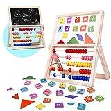 jerryvon Ábaco Infantil Montessori de Madera Pizarras para Niños Puzzle Infantil Magnético Tablero de Doble Cara con Numero y Tangram Multiuso Sketchpad Juguetes Educativos para Niños 3 4 5 6 Años
