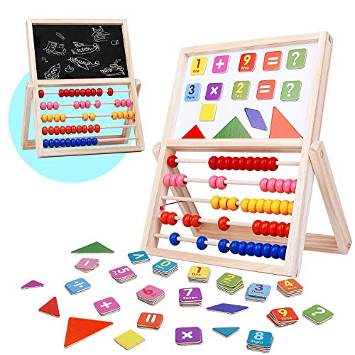 Wooden Abacus Magnetic Drawing Board Montessori Toys with Whiteboard Blackboard Double Sided Easel Kids with Jigsaw Puzzles and Numbers Math Counting Game Educational Toys for Kids 3 4 5 Years Old