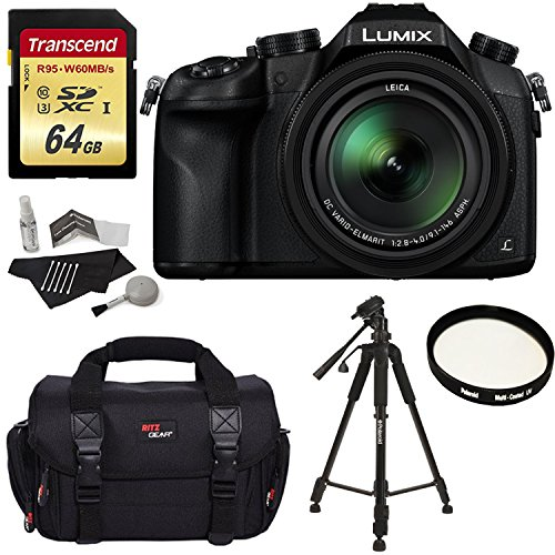 Panasonic Lumix DMC-FZ1000 4K QFHD/HD 16X Long Zoom Digital Camera (Black) + Transcend 64 GB UH3 SD Card + 57 Inch Tripod + Camera Bag + UV Filter