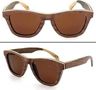 LUKEEXIN Vintage Color Bamboo Sunglasses with Polarized for Women Men (Color : Brown)