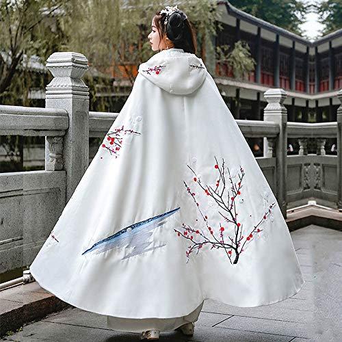 Rawall Alter traditioneller Tang-Anzug Pflanze Muster Gestickte Cape Hanfu chinesischen Stil Traditionell Hanfu Halloween Cosplay gestickte chinesische Kostüm (Farbe : Weiß, Größe : Free Size)