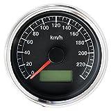 オートゲージ バイク汎用 LED スピードメーター 電気式 240km オートゲージ 黒 バイク用 後付け 追加メーター
