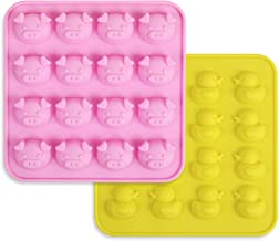 homEdge Duck and Pig Silicone Molds, Non-Stick Food Grade Silicone Molds for Chocolate, Candy, Jelly, Ice Cube