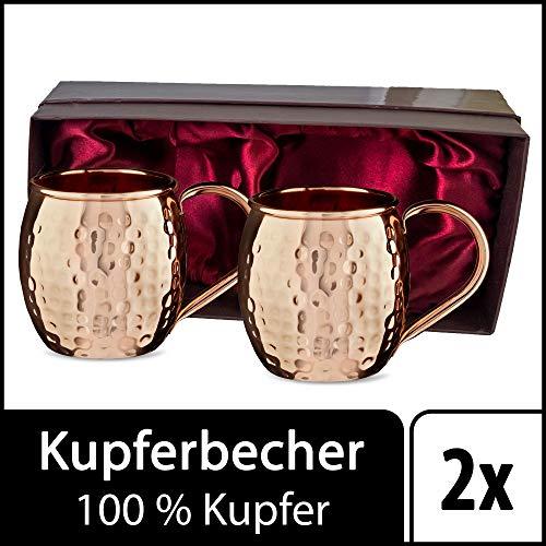 Sir Finley Monkey Moscow Mule Becher (2er Set), Kupferbecher gehämmert, hält Cocktails länger kalt, original Copper Mug Geschenk (100% Kupfer), Gin Mug 450 ml (Design Fass)