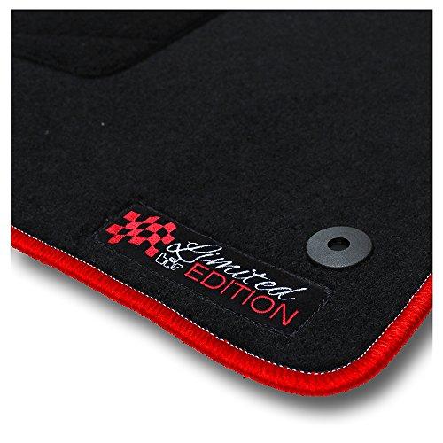 Bär-AfC SE05125 Limited Edition Auto Fußmatten Nadelvlies Schwarz, Rand Kettelung Rot, Stick Logo Rot, Set 4-teilig, Passgenau für Modell Siehe Details