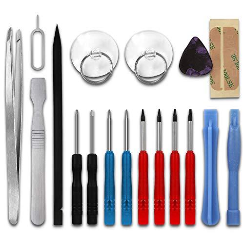 Handy Reparatur Werkzeuge Magnetisch, 18-teilig mit Pentalobe & Torx Schraubendreher Set, Plastikheber Saugnapf, Schraubenzieher Satz mit Pinzette Displaykleber, Präzisions Reparaturset Feinmechanik