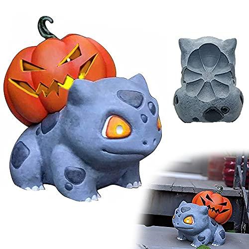 juxia Citrouille d'halloween, Porte-Bougie Chauffe-Plat Bulbasaur Jack-O-Lantern, Statues De Citrouille d'halloween, Décorations d'halloween Pokemon (Gris)