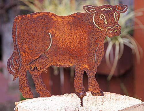 Rostalgie Edelrost Kuh Resi mit Schraube für Holz 16cm Tierfigur Bauernhof Gartendeko